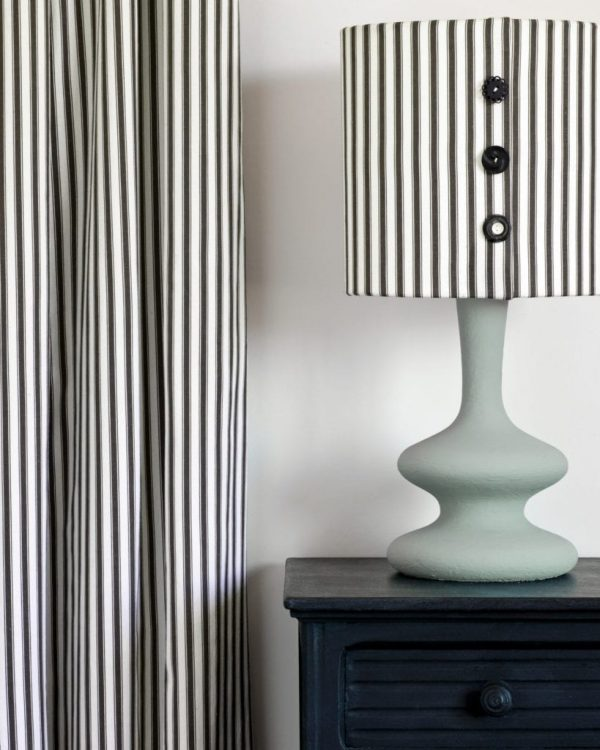 Athenian-Black-side-table-Curtain-and-lampshade-in-Ticking-in-Graphite-lamp-base-in-Svenska-Blue