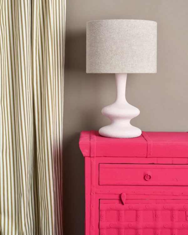 Capri-Pink-Side-Table-Ticking-in-Olive-curtain-Linen-Union-in-Old-White-French-Linen-lampshade