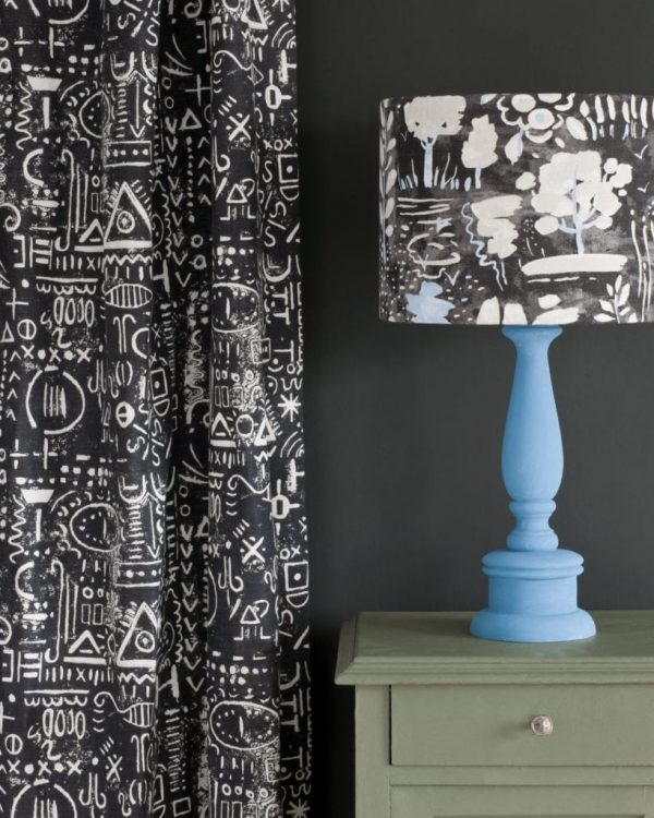Chateau-Grey-side-table-Tacit-in-Graphite-curtain-Dulcet-in-Graphite-lampshade