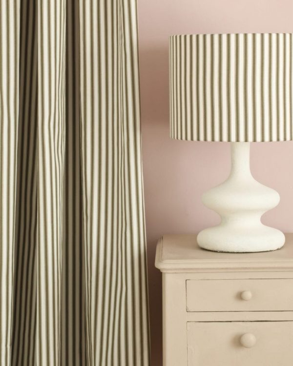 Country-Grey-side-table-Antoinette-Wall-Paint-Ticking-in-Olive-curtain-and-lampshade-