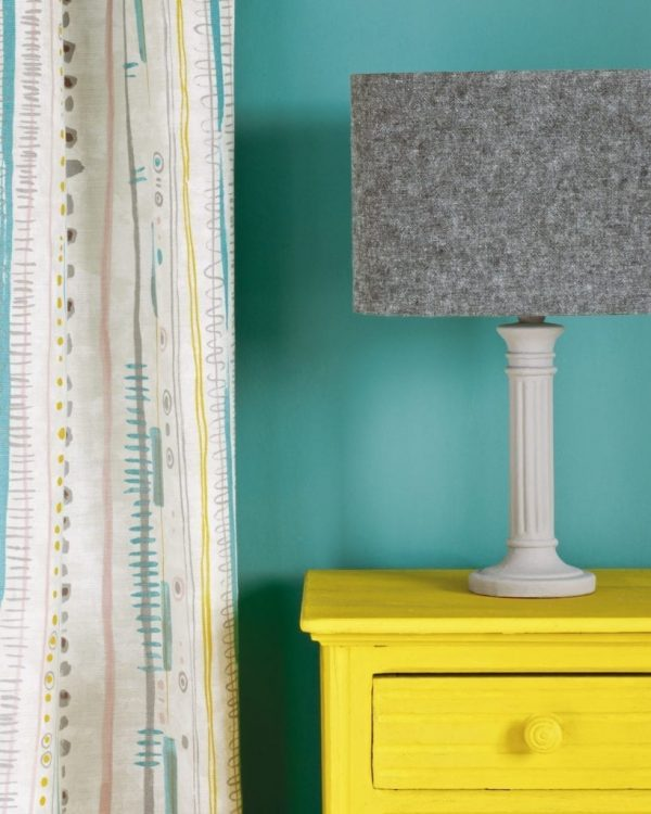 English-Yellow-side-table-Wall-Paint-in-Provence-Piano-in-Provence-curtain-Linen-Union-in-Graphite-Old-White-lampshade