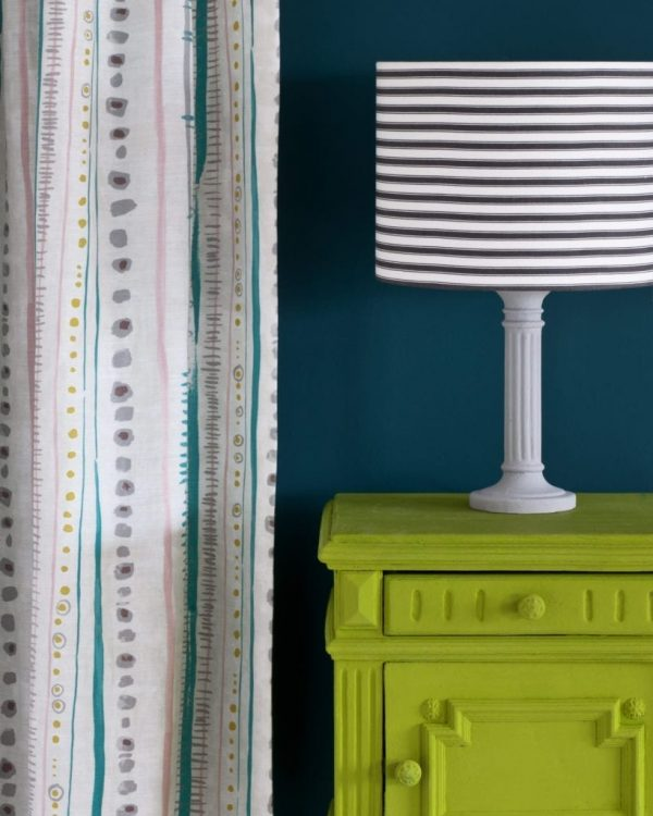 Firle-side-table-Wall-Paint-in-Aubusson-Blue-Piano-in-Provence-curtain-Ticking-in-Graphite-lampshade