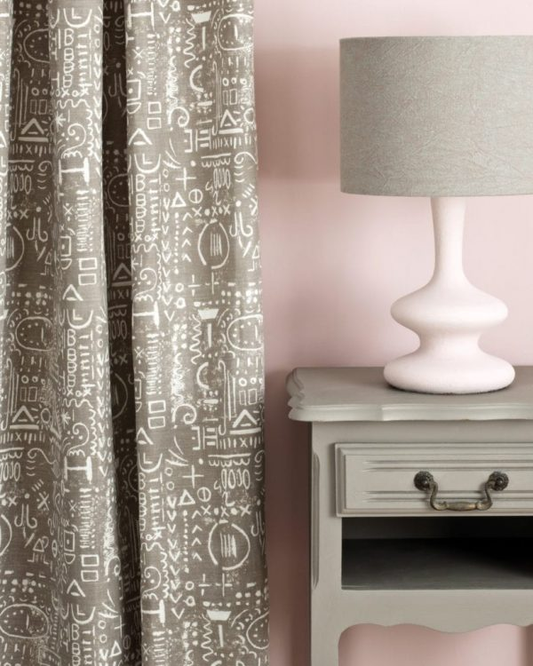 French-Linen-side-table-Antoinette-Wall-Paint-Tacit-in-French-Linen-curtain-Linen-Union-in-Coco-Duck-Egg-Blue-lampshade