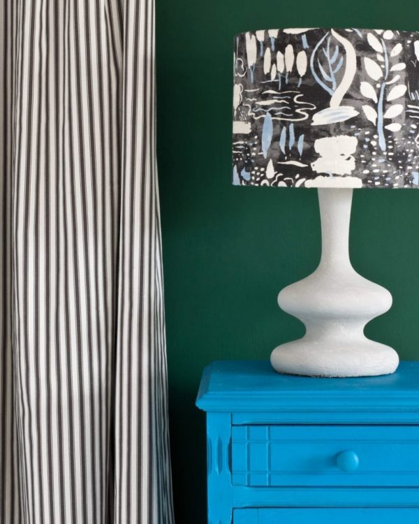 Giverny-side-table-Amsterdam-Green-Wall-Paint-Ticking-in-Graphite-curtain-Dulcet-in-Graphite-lampshade-