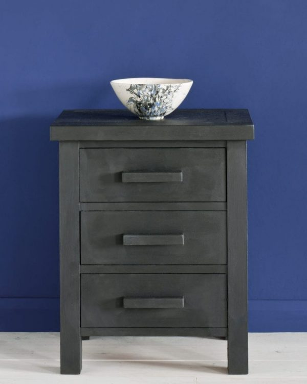 Graphite-side-table-Napoleonic-Blue-Wall-Paint-
