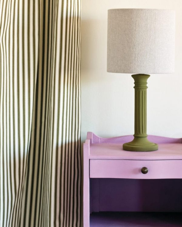 Henrietta-side-table-Ticking-in-Olive-curtain-Linen-Union-in-Old-White-French-Linen-lampshade-