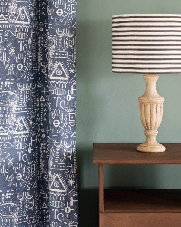 Honfleur-side-table-Duck-Egg-Blue-Wall-Paint-Tacit-in-Old-Violet-curtain-Ticking-in-Graphite-lampshade-