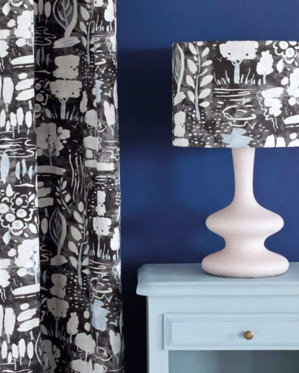Louis-Blue-side-table-Napoleonic-Blue-Wall-Paint-Dulcet-in-Graphite-curtain-and-lampshade