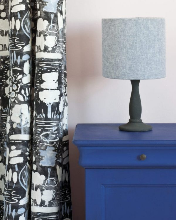 Napoleonic-Blue-side-table-Antoinette-Wall-Paint-Dulcet-in-Graphite-curtian-Linen-Union-Old-Violet-Old-White-lampshade