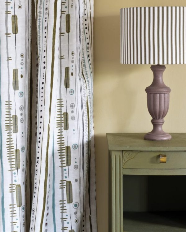 Olive-side-table-Piano-in-Olive-curtain-Ticking-in-Graphite-lampshade