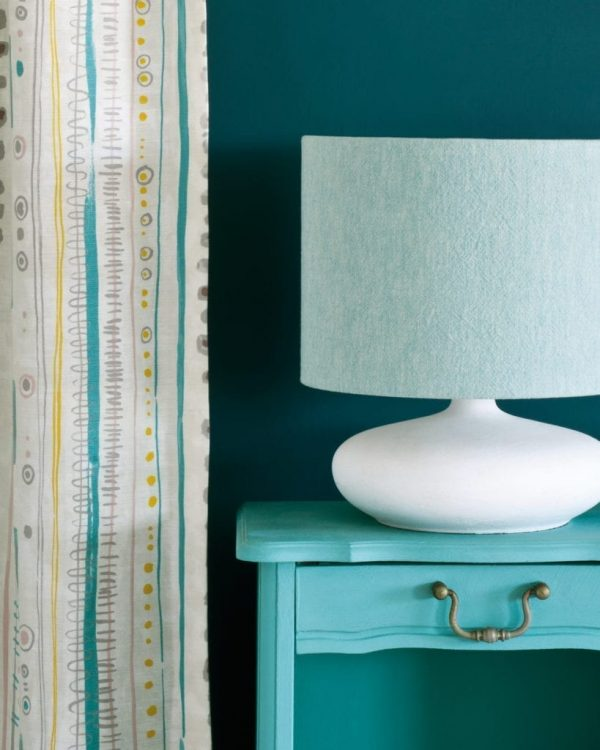 Provence-side-table-Wall-Paint-in-Aubusson-Blue-Piano-in-Provence-curtain-Linen-Union-in-Provence-Old-White-lampshade-