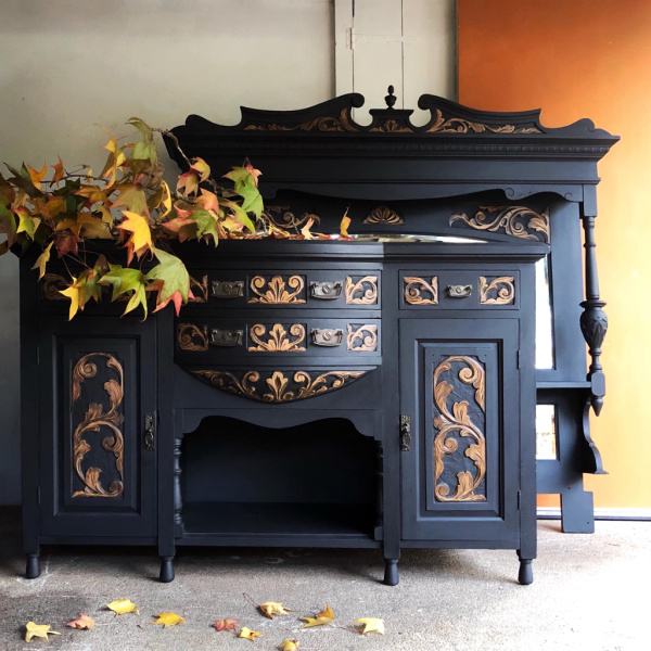 black-carved-mirror-and-sideboard