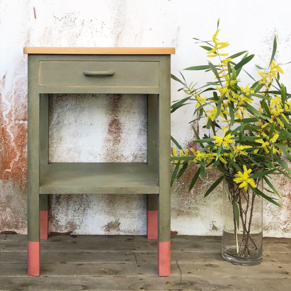 green-mcm-side-table